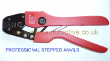Professional quality ratchet STEPPED ANVIL crimp tool for uninsulated crimp terminals<br>ALT/TN73-09